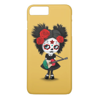 Sugar Skull Girl Playing Mexican Flag Guitar iPhone 7 Plus Case