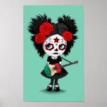 Sugar Skull Girl Playing Mexican Flag Guitar Poster