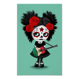 Sugar Skull Girl Playing Mexican Flag Guitar Poster