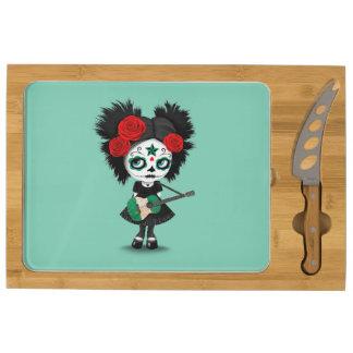 Sugar Skull Girl Playing Nigerian Flag Guitar Cheese Board