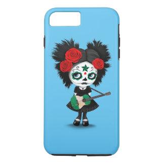Sugar Skull Girl Playing Nigerian Flag Guitar iPhone 8 Plus/7 Plus Case
