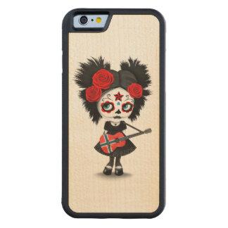 Sugar Skull Girl Playing Norwegian Flag Guitar Carved® Maple iPhone 6 Bumper