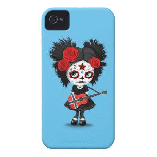 Sugar Skull Girl Playing Norwegian Flag Guitar iPhone 4 Case-Mate Case