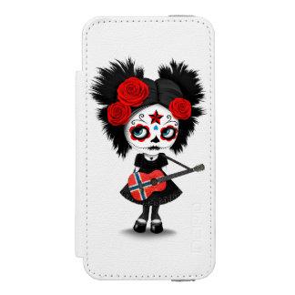 Sugar Skull Girl Playing Norwegian Flag Guitar iPhone SE/5/5s Wallet Case