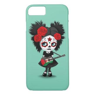Sugar Skull Girl Playing Palestinian Flag Guitar iPhone 7 Case