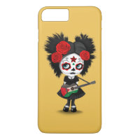 Sugar Skull Girl Playing Palestinian Flag Guitar iPhone 8 Plus/7 Plus Case