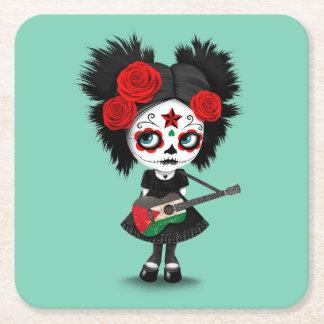 Sugar Skull Girl Playing Palestinian Flag Guitar Square Paper Coaster