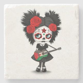 Sugar Skull Girl Playing Palestinian Flag Guitar Stone Coaster