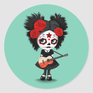Sugar Skull Girl Playing Polish Flag Guitar Classic Round Sticker