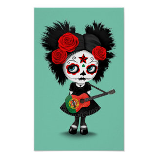 Sugar Skull Girl Playing Portuguese Flag Guitar Poster