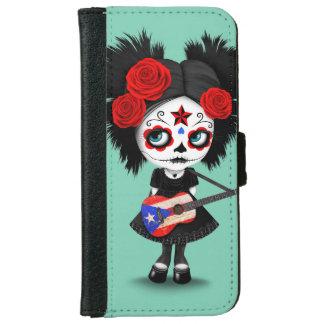 Sugar Skull Girl Playing Puerto Rican Flag Guitar iPhone 6/6s Wallet Case