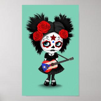 Sugar Skull Girl Playing Puerto Rican Flag Guitar Poster