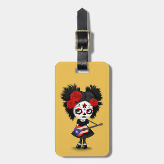 Sugar Skull Girl Playing Puerto Rican Flag Guitar Tag For Luggage