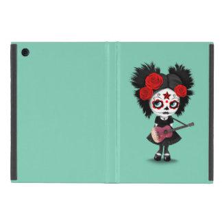 Sugar Skull Girl Playing Qatari Flag Guitar iPad Mini Covers
