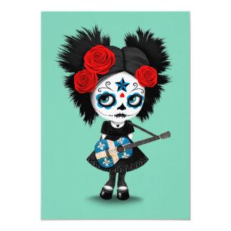 Sugar Skull Girl Playing Quebec Flag Guitar 5x7 Paper Invitation Card
