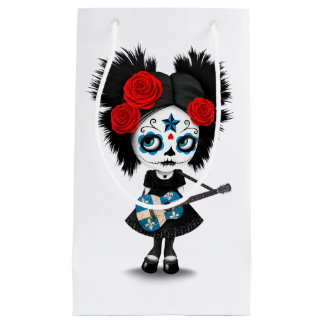 Sugar Skull Girl Playing Quebec Flag Guitar Small Gift Bag