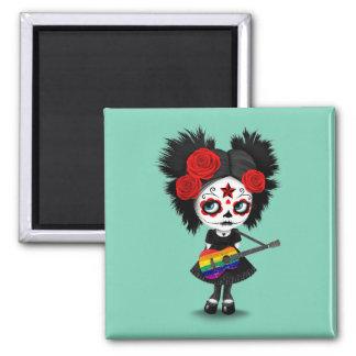 Sugar Skull Girl Playing Rainbow Flag Guitar Magnet