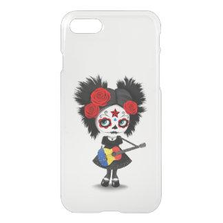 Sugar Skull Girl Playing Romanian Flag Guitar iPhone 7 Case