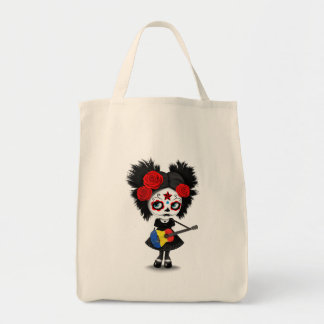 Sugar Skull Girl Playing Romanian Flag Guitar Tote Bag