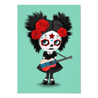 Sugar Skull Girl Playing Russian Flag Guitar Card