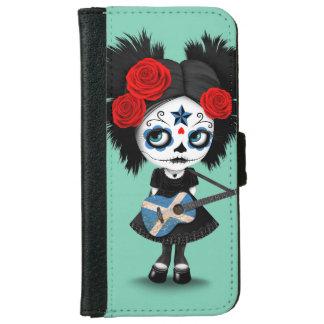 Sugar Skull Girl Playing Scottish Flag Guitar iPhone 6 Wallet Case