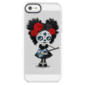 Sugar Skull Girl Playing Scottish Flag Guitar Uncommon Clearly™ Deflector iPhone 5 Case