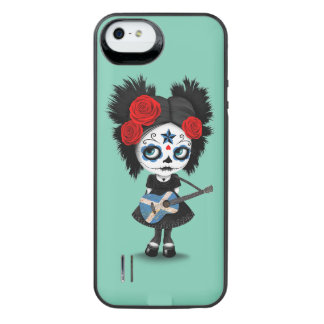 Sugar Skull Girl Playing Scottish Flag Guitar Uncommon Power Gallery™ iPhone 5 Battery Case