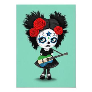 Sugar Skull Girl Playing Sierra Leone Flag Guitar Card
