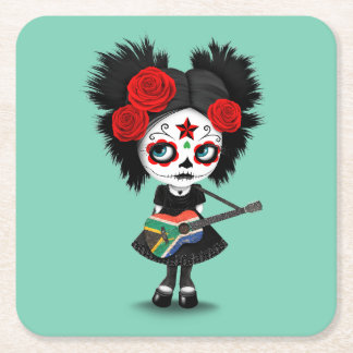 Sugar Skull Girl Playing South African Flag Guitar Square Paper Coaster