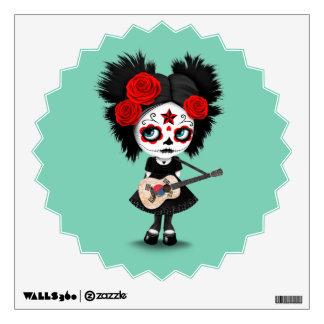 Sugar Skull Girl Playing South Korean Flag Guitar Wall Decal