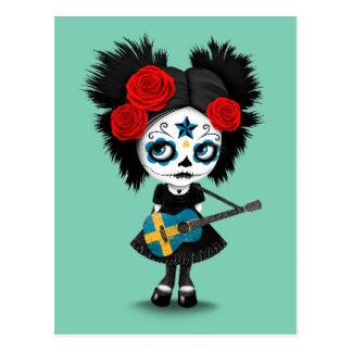 Sugar Skull Girl Playing Swedish Flag Guitar Postcard