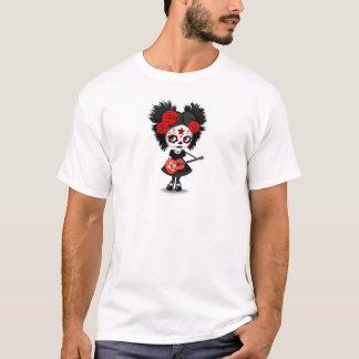 Sugar Skull Girl Playing Swiss Flag Guitar T-Shirt
