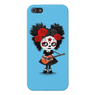 Sugar Skull Girl Playing Trinidadian Flag Guitar Cover For iPhone SE/5/5s