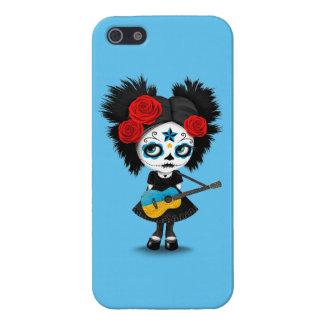 Sugar Skull Girl Playing Ukrainian Flag Guitar iPhone SE/5/5s Case