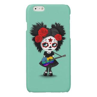 Sugar Skull Girl Playing USA Rainbow Flag Guitar Glossy iPhone 6 Case