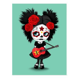 Sugar Skull Girl Playing Vietnamese Flag Guitar Postcard
