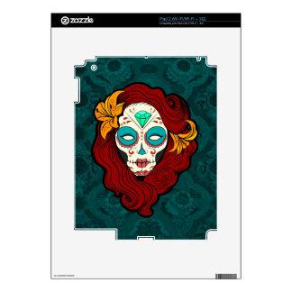 Sugar Skull Girl with Burgundy Red Hair Skin For iPad 2