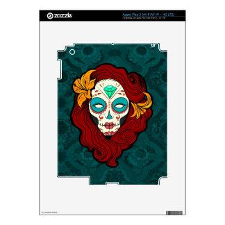 Sugar Skull Girl with Burgundy Red Hair Skin For iPad 3