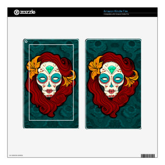 Sugar Skull Girl with Burgundy Red Hair Skins For Kindle Fire