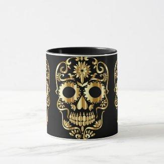 Sugar Skull Gold on Black Day of the Dead Style Mug