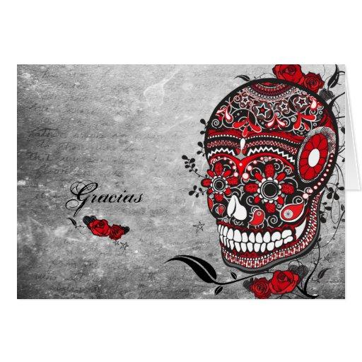 Sugar Skull Gracias Notecard