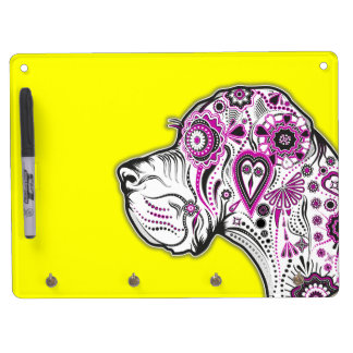 Sugar Skull Great Dane Dry Erase Board With Keychain Holder