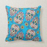 Sugar Skull Halloween Blue Throw Pillow