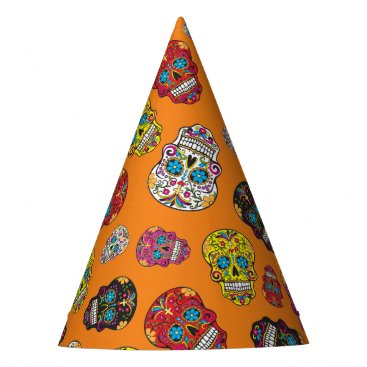 Halloween Themed Sugar Skull Halloween Day of the Dead Print Party Hat