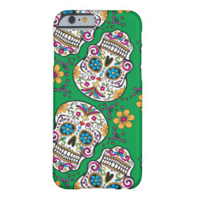 Sugar Skull Halloween Green Barely There iPhone 6 Case