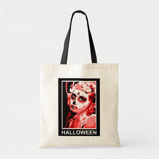 sugar skull halloween greetings canvas bags