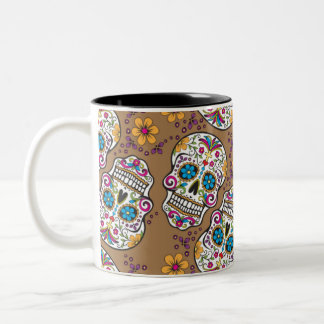 Sugar Skull Halloween Khaki Coffee Mugs