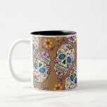 Sugar Skull Halloween Khaki Two-Tone Coffee Mug