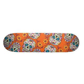 Sugar Skull Halloween Orange Skateboard