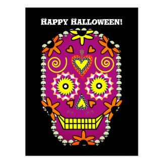 Sugar Skull Halloween Postcard